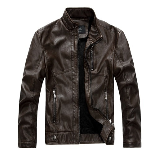 Kenntrice Spring Autumn Brand Leather Jacket Men Slim Short Stand Collar Jaqueta Couro Bomber Jacket Faux Leather Fur Coat Suede