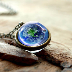PLANET EARTH IN A NECKLACE