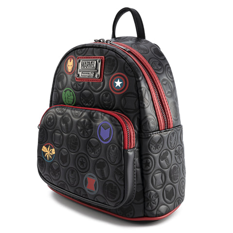 Loungefly x Marvel Avengers Debossed Icons AOP Mini Backpack