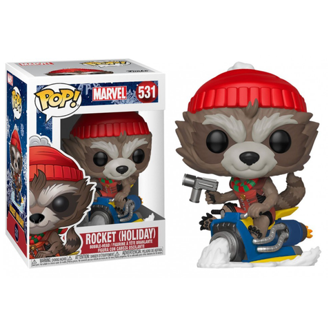 Guardians Of The Galaxy - Rocket Raccoon on Snowmobile Christmas Holiday Pop! Vinyl Figure