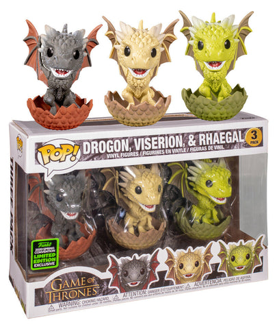 Game of Thrones - Drogon, Rhaegal & Viserion in Eggs Pop! Vinyl Figure 3-Pack (2020 Spring Convention Exclusive)