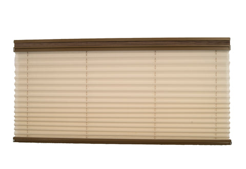 Pleated Day / Night Shade – Off White / Linen Beige w/ Taupe Rail
