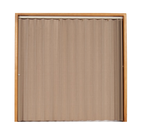 Pleated Accordion Doors - Linen Beige w/ Beige Rail and Ivory Track