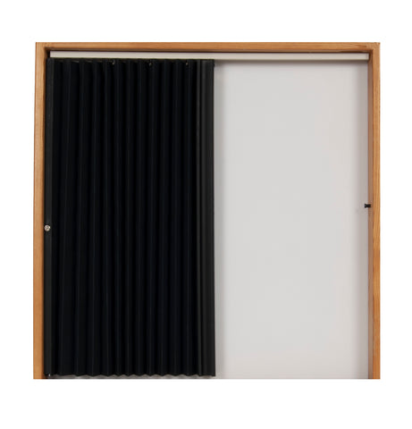 Pleated Accordion Doors - Black w/ Black Rail and Ivory Track
