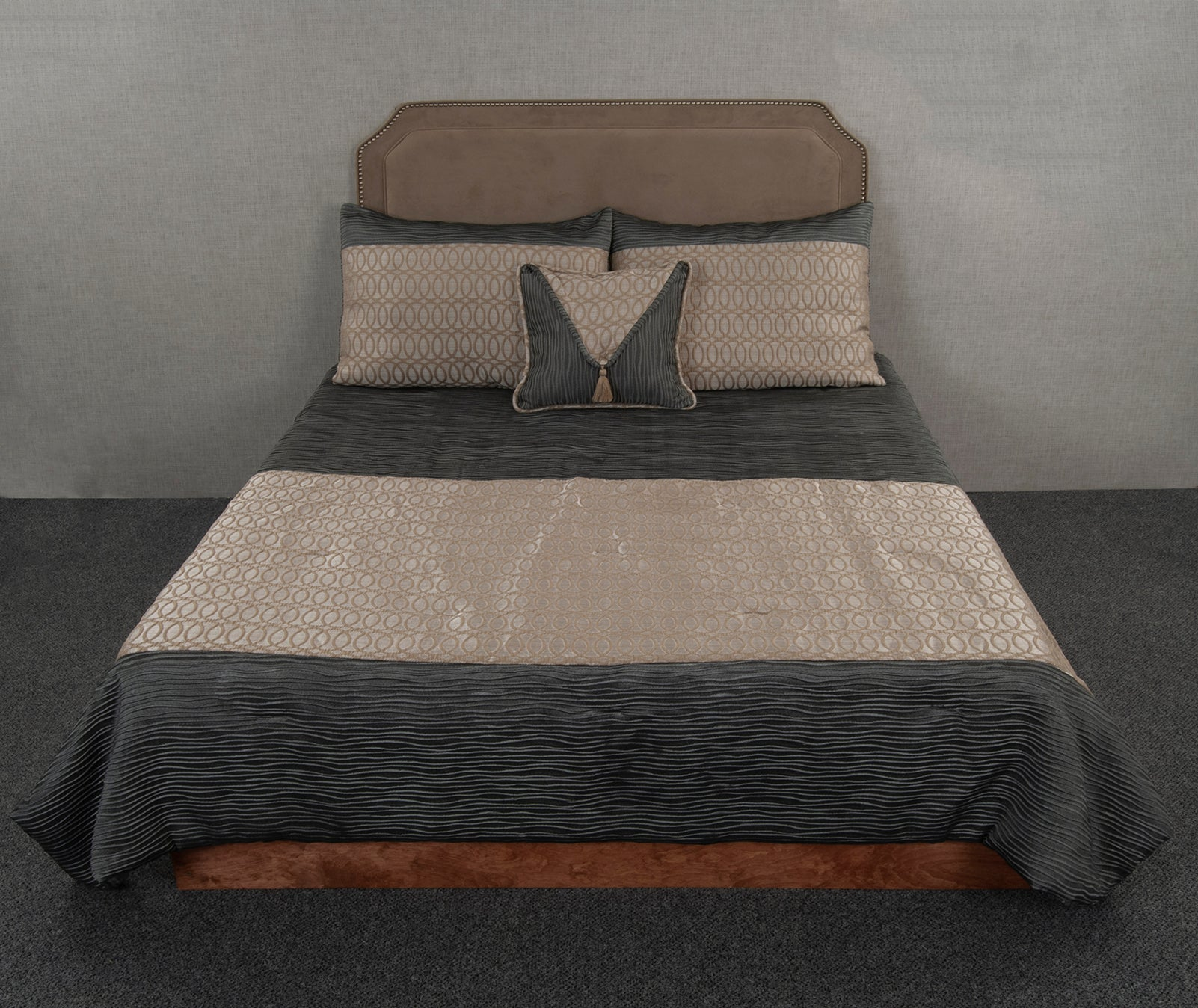 Tinsley Tan & Aster Slate Throw Style Bedspread