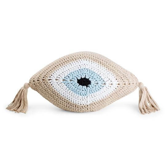 crochet evil eye pillow in lutrex gold