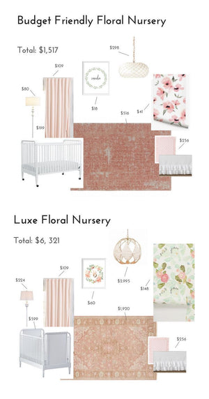 Furniture and nursery decor to create a floral nursery