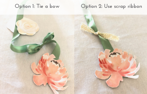 "Add ""leaves"" to each ribbon ""stem"" with bows or scrap ribbon"