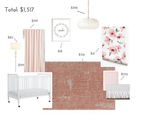 Budget friendly floral nursery decor including crib, rug and lightling