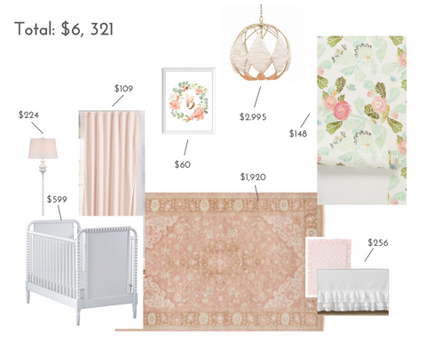 Luxe floral nursery decor including crib, rug and lighting