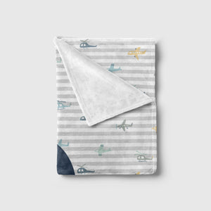 Airplane Print Striped Baby Blanket | Baby Blankets | The Graceful Goose