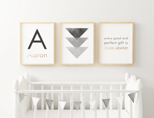Black & Gold Geometric // Set of 3 Prints | Nursery Prints | The Graceful Goose