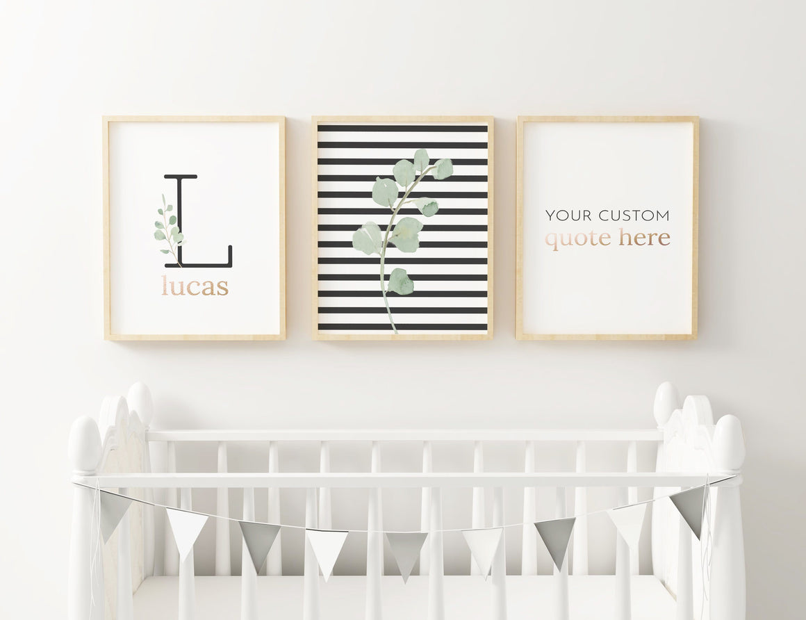 Black Modern Stripes - Boy // Set of 3 Prints