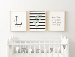 Black Modern Stripes - Boy // Set of 3 Prints | Nursery Prints | The Graceful Goose