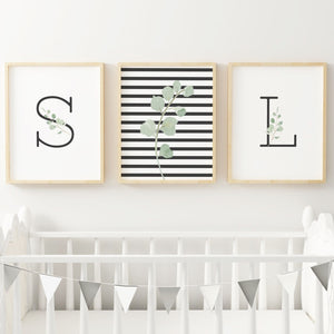 Black Modern Stripes - Twins // Set of 3 Prints