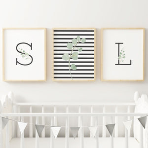 Black Modern Stripes Nursery Print Set #2