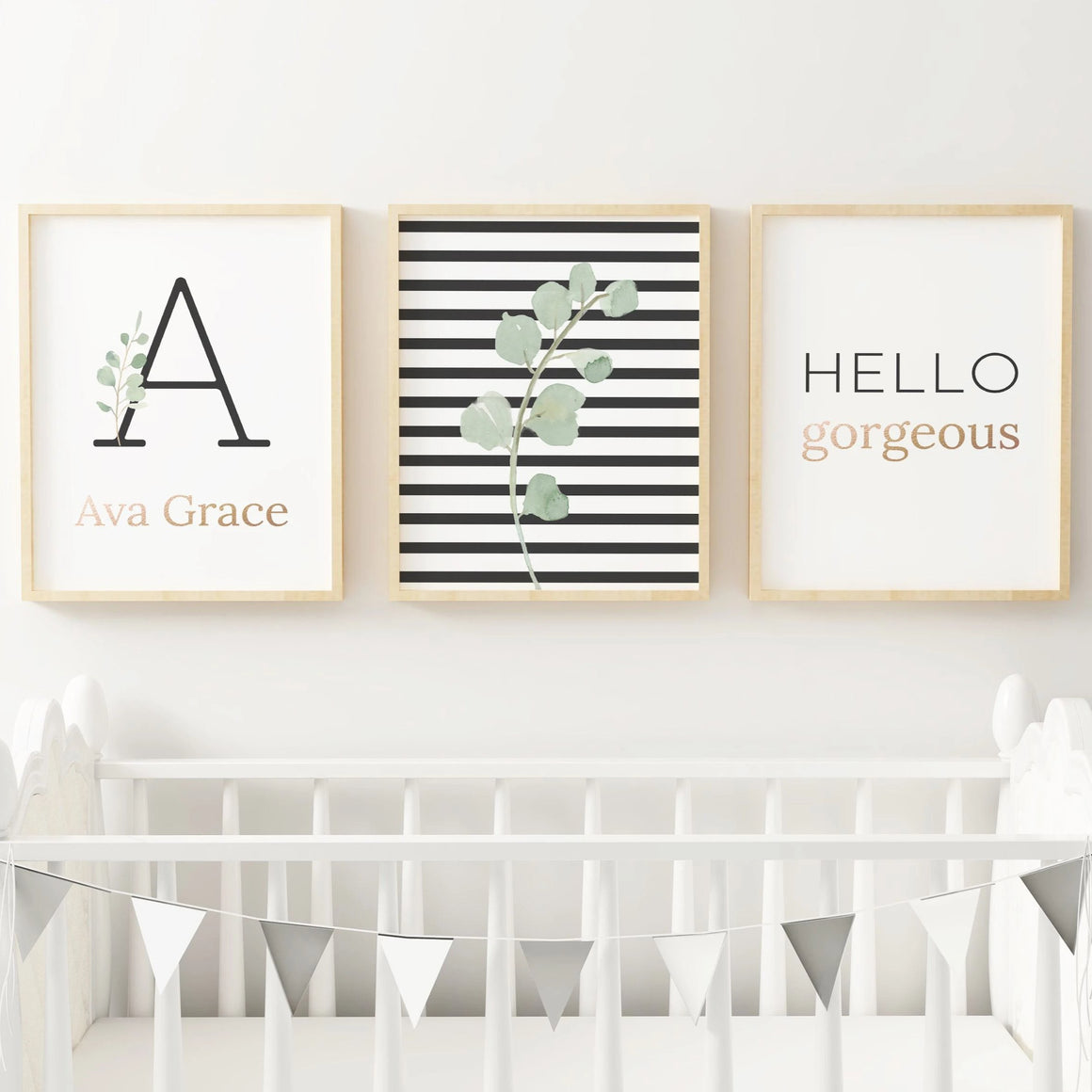 Black Modern Stripes - Girl // Set of 3 Prints | Nursery Prints | The Graceful Goose
