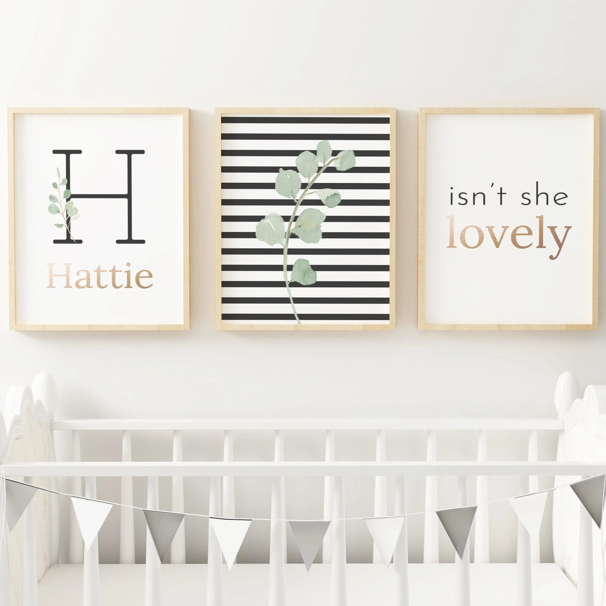 Black Modern Stripes - Girl // Set of 3 Prints