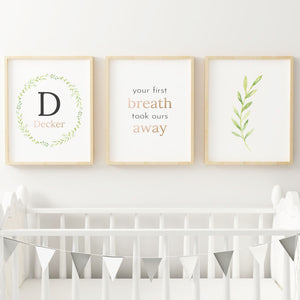 Black Wreath // Set of 3 Prints | Nursery Prints | The Graceful Goose