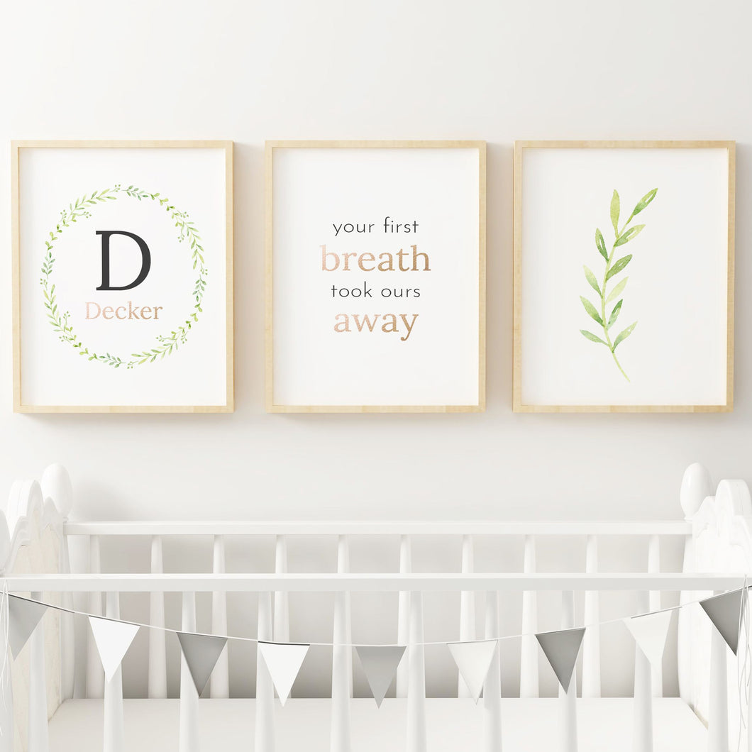 Black Wreath Nursery Print Set #1