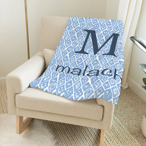 Blue Shibori Print Blanket Personalized Baby Blankets With Name TheGracefulGoose