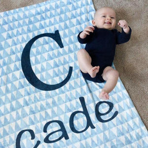Blue Triangle Print Blanket | Baby Blankets | The Graceful Goose