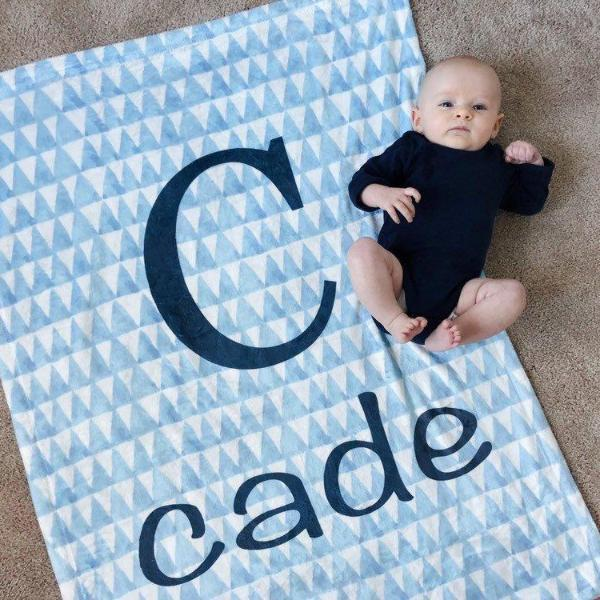 Blue Triangle Print Baby Blanket Baby Blankets | The Graceful Goose
