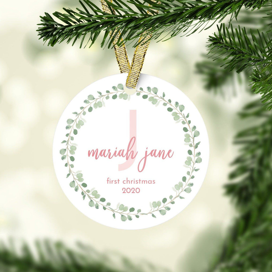 Blush and Green First Christmas Ornament | Christmas Ornaments | The Graceful Goose