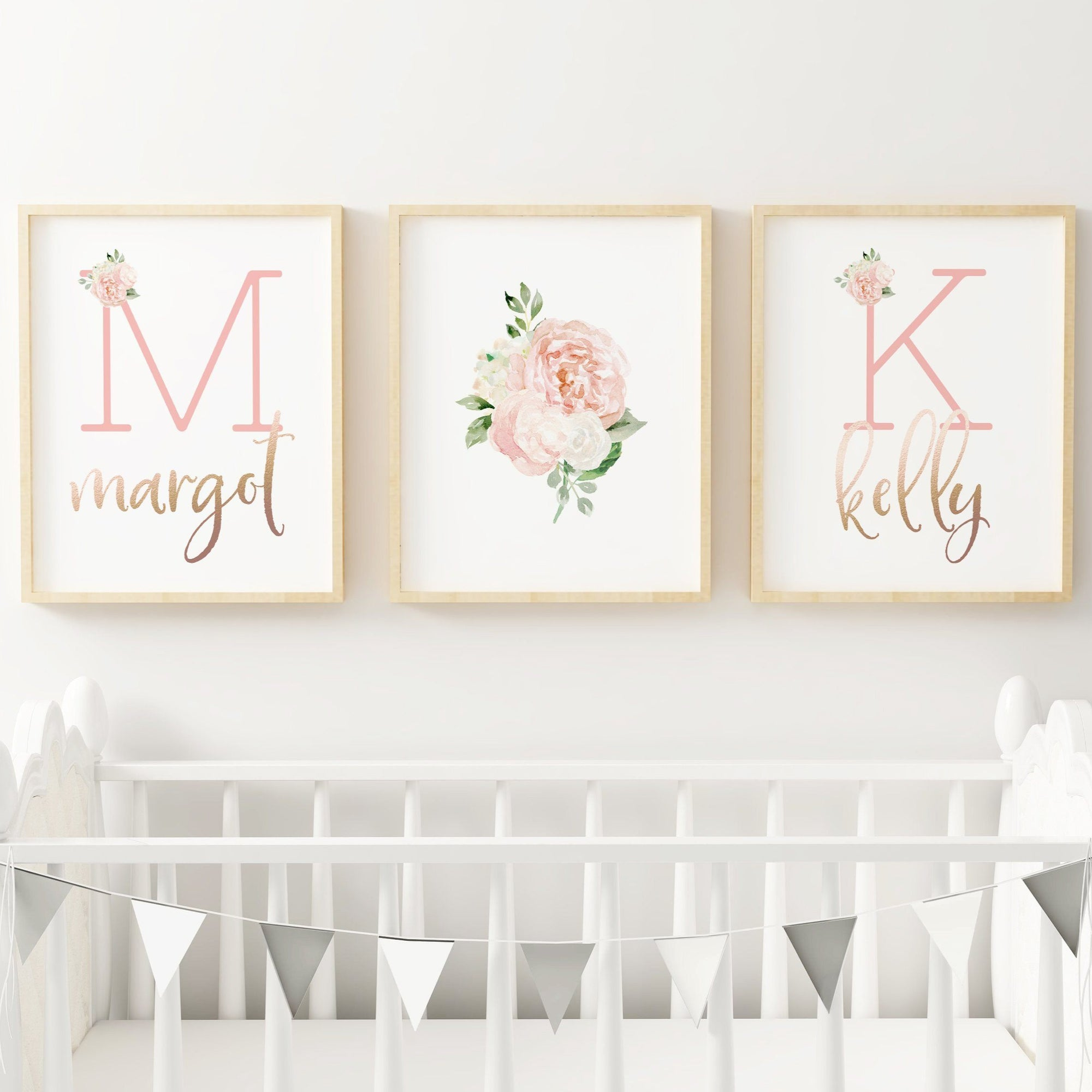 Dark Blush - Twins // Set of 3 Prints Nursery Prints TheGracefulGoose