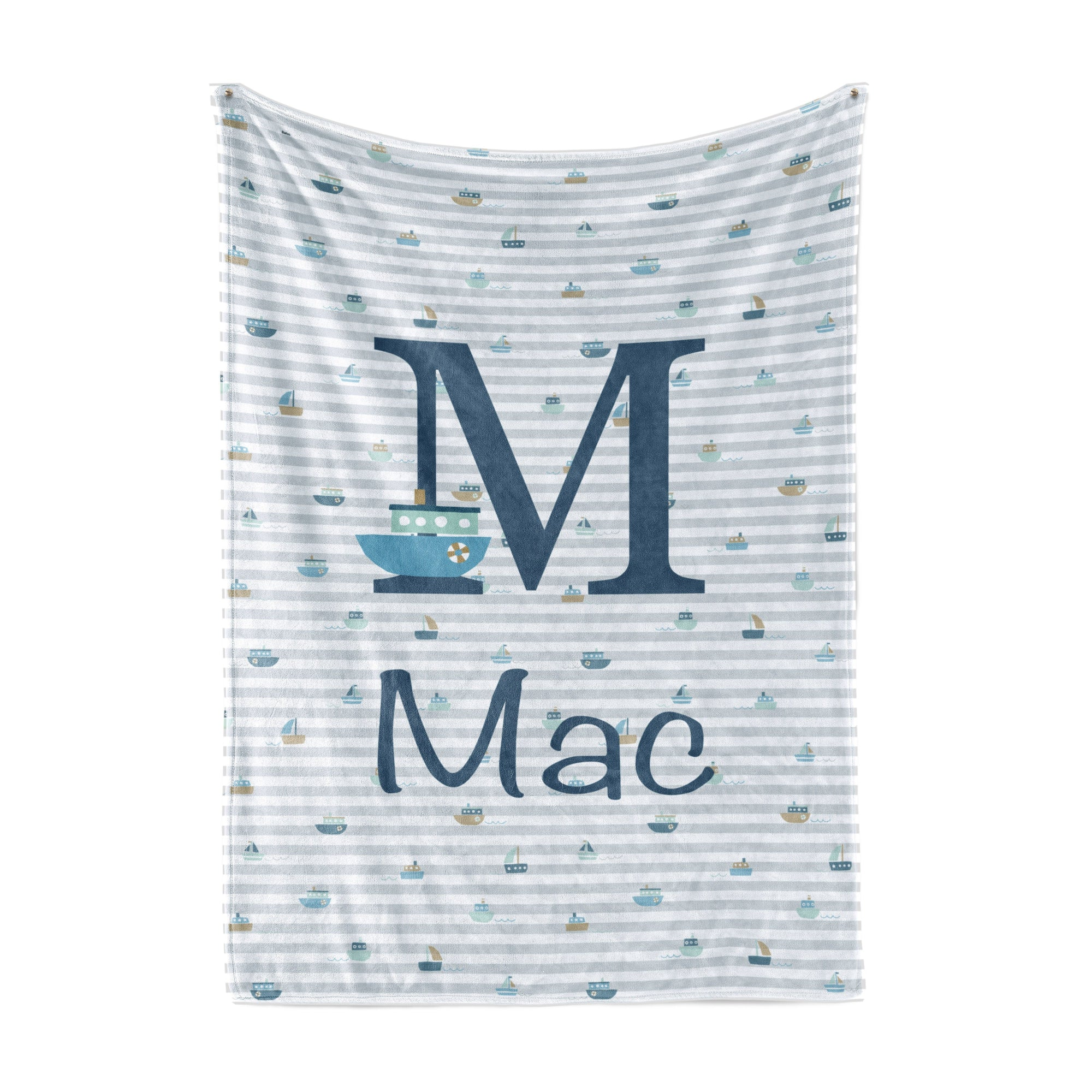 Boat Print Striped Blanket Personalized Baby Blankets With Name TheGracefulGoose