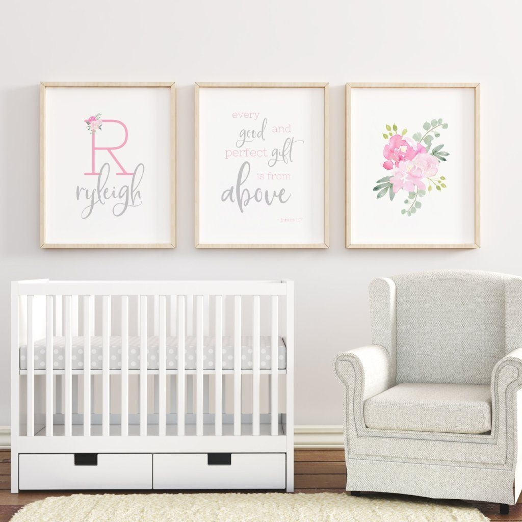 Bright Pink and Grey #1 // Set of 3 Prints | Nursery Prints | The Graceful Goose