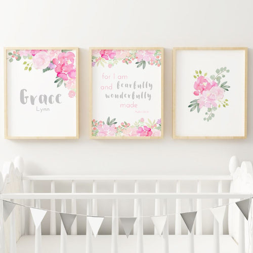 Bright Pink and Grey Nursery Print Set #2