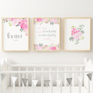 Bright Pink and Grey Nursery Print Set #2 | Nursery Prints | The Graceful Goose