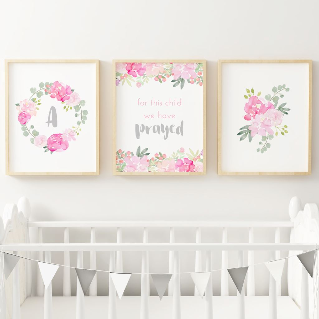 Bright Pink and Grey Nursery Print Set #3