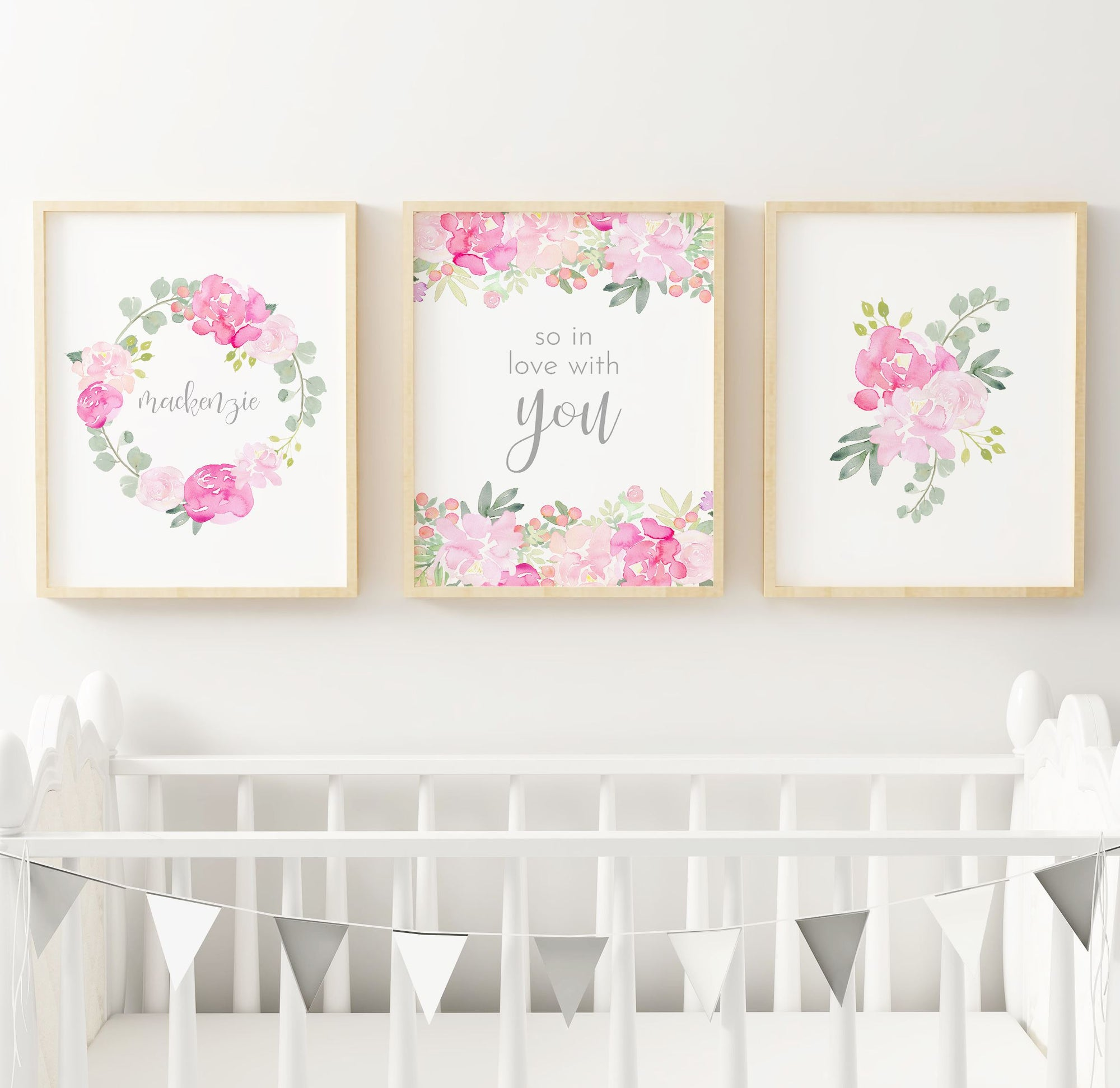 Bright Pink and Grey #4 // Set of 3 Prints | Nursery Prints | The Graceful Goose
