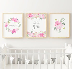 Bright Pink and Grey #4 // Set of 3 Prints Nursery Prints TheGracefulGoose