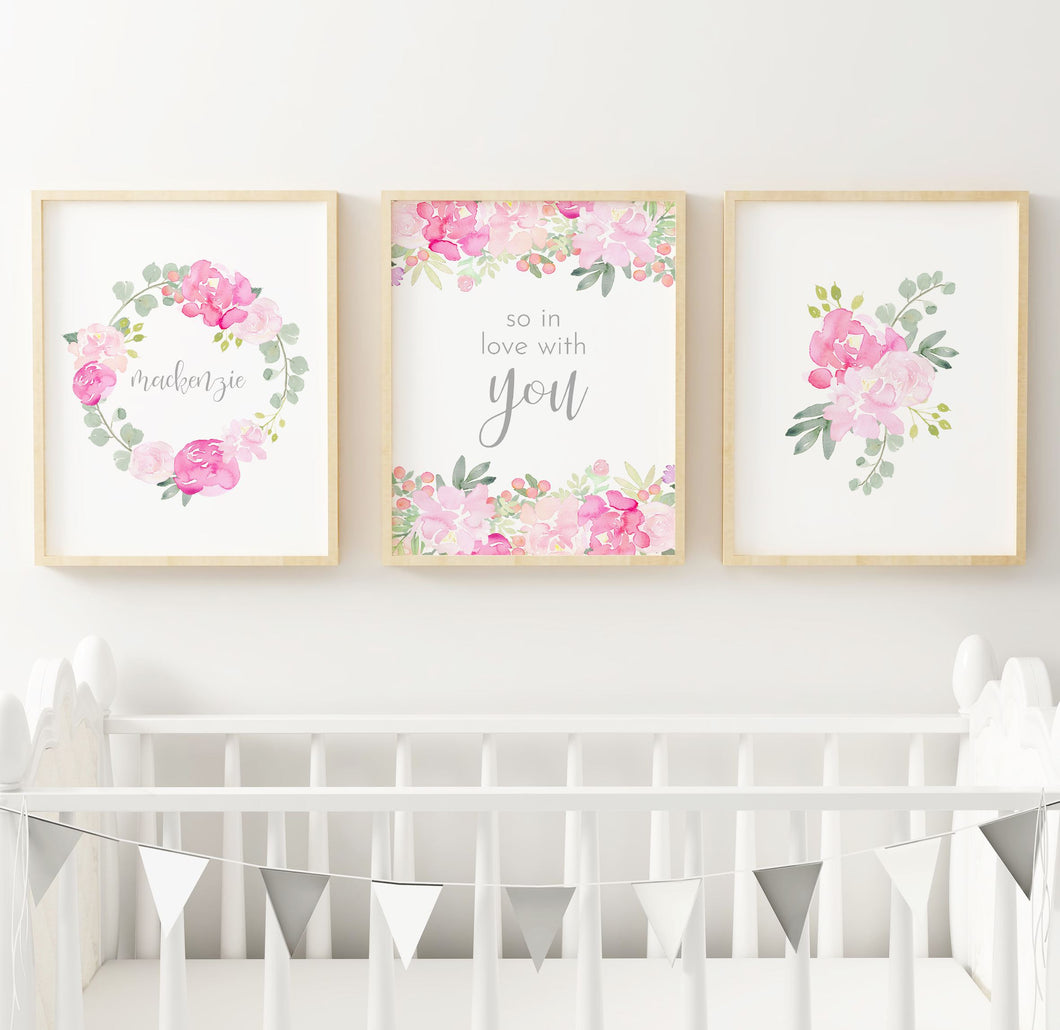 Bright Pink and Grey Nursery Print Set #4