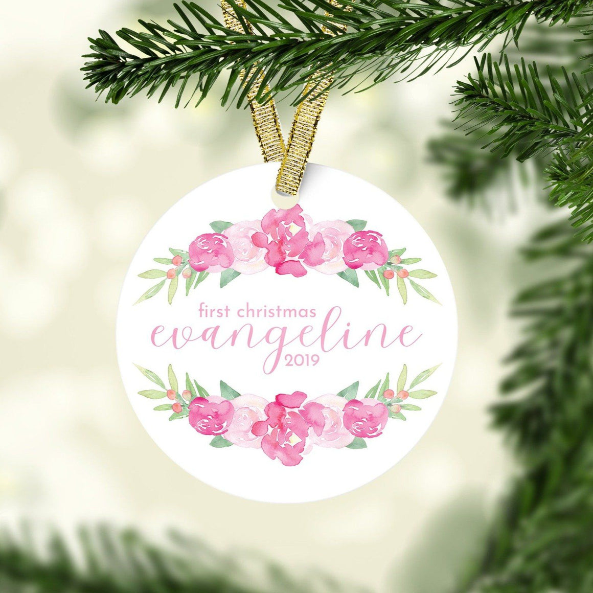 Bright Pink First Christmas Ornament | Christmas Ornaments | The Graceful Goose