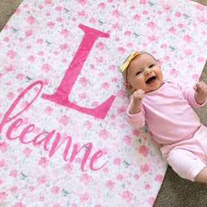Bright Pink Floral Baby Blanket | Baby Blankets | The Graceful Goose