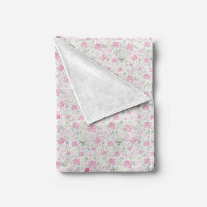 Bright Pink Floral Blanket Personalized Baby Blankets With Name TheGracefulGoose