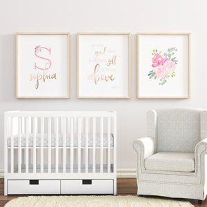 Bright Pink Nursery #2 // Set of 3 Prints | Nursery Prints | The Graceful Goose