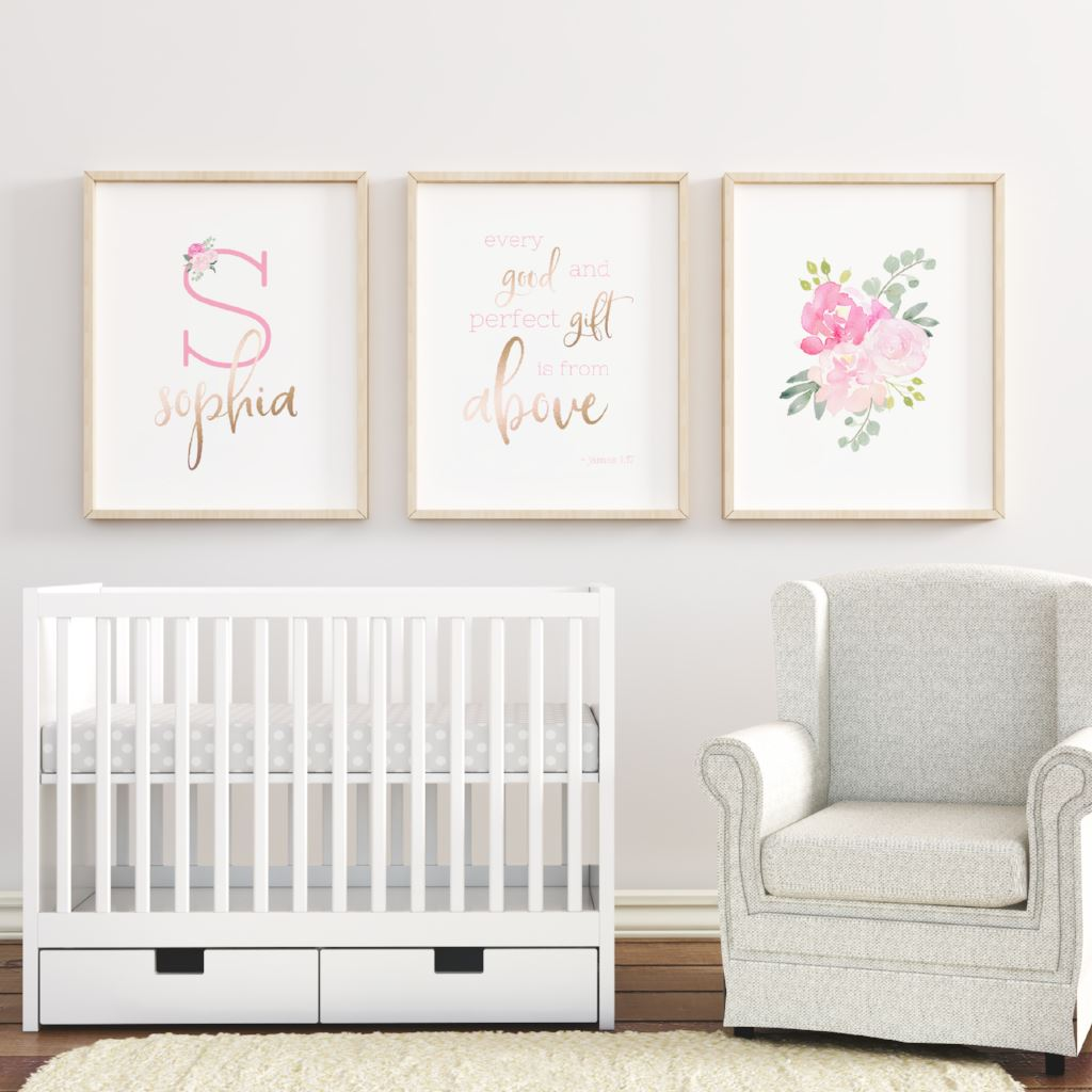 Bright Pink Nursery Print Set #2 Nursery Prints | The Graceful Goose