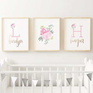 Bright Pink - Twins // Set of 3 Prints | Nursery Prints | The Graceful Goose