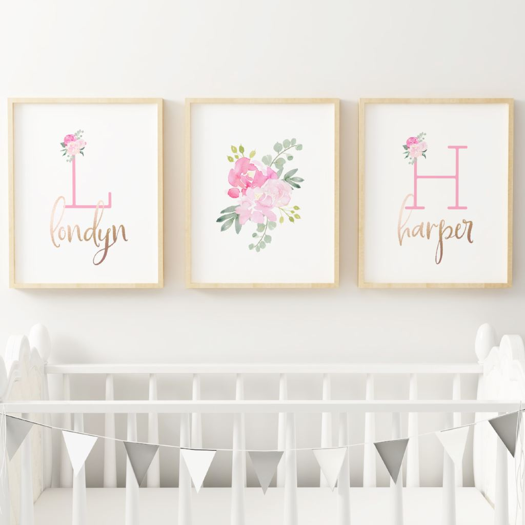 Bright Pink Nursery Print Set - Twins