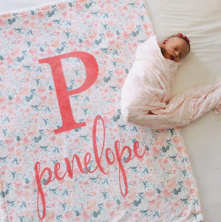 Coral Floral Baby Blanket | Baby Blankets | The Graceful Goose