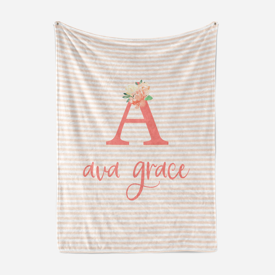 Coral Striped Baby Blanket | Minky Blanket | The Graceful Goose