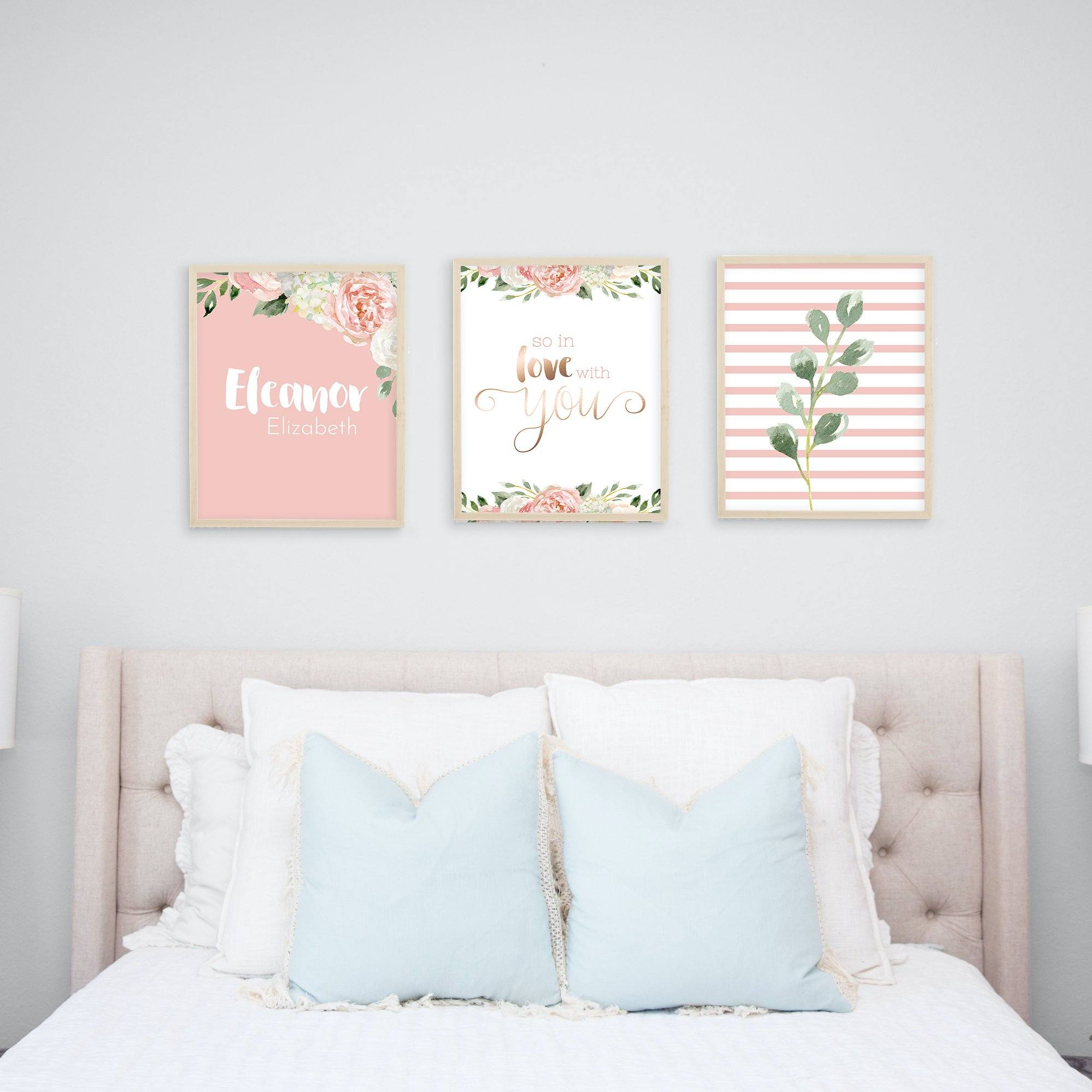 Dark Blush #4 // Set of 3 Prints Nursery Wall Decor for a Girl TheGracefulGoose