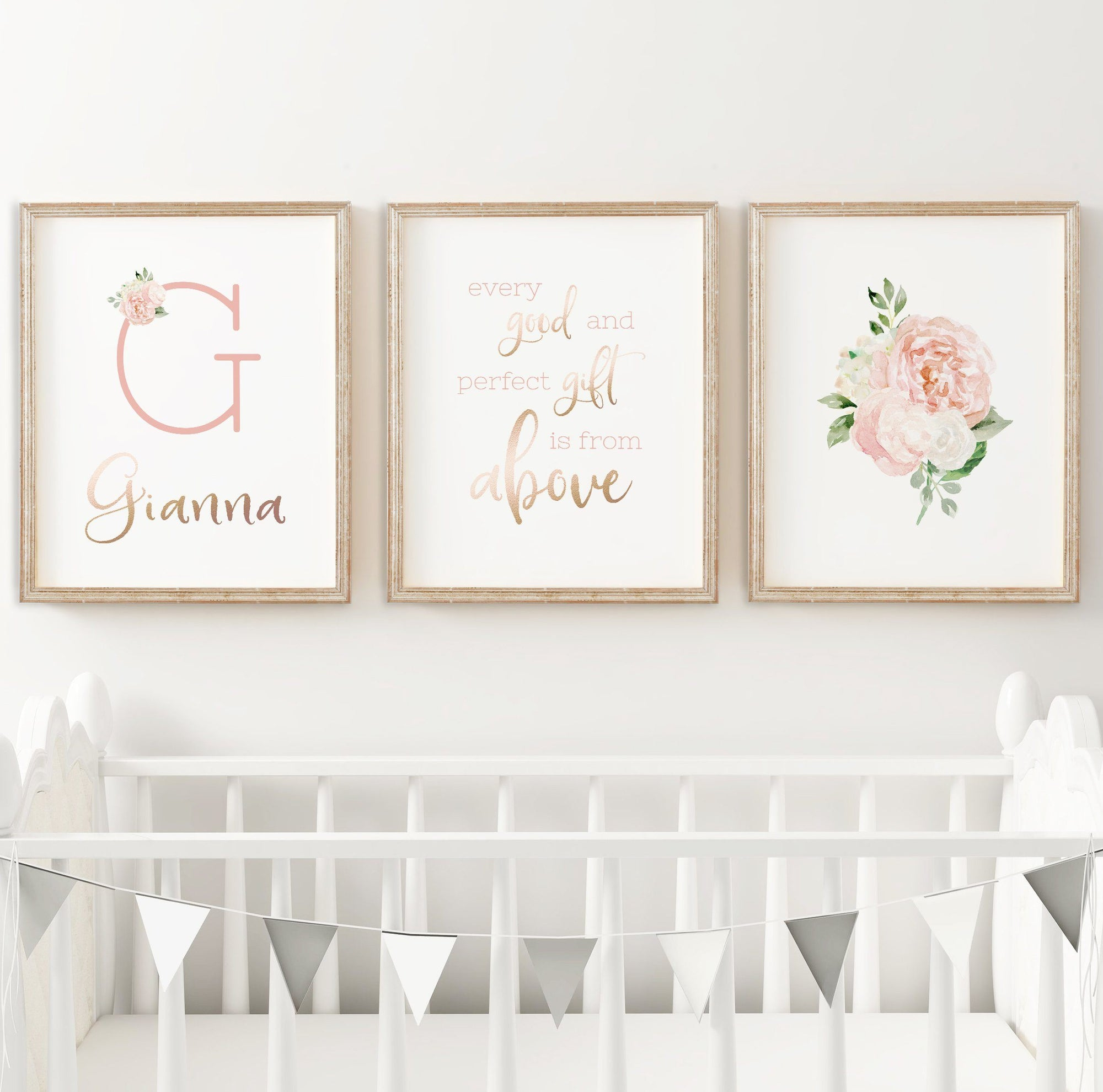 Dark Blush #6 // Set of 3 Prints Nursery Wall Decor for a Girl TheGracefulGoose