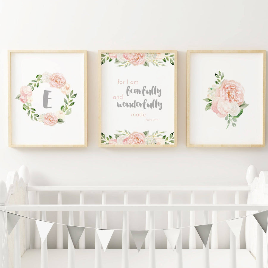 Dark Blush and Grey #1 // Set of 3 Prints | Nursery Prints | The Graceful Goose