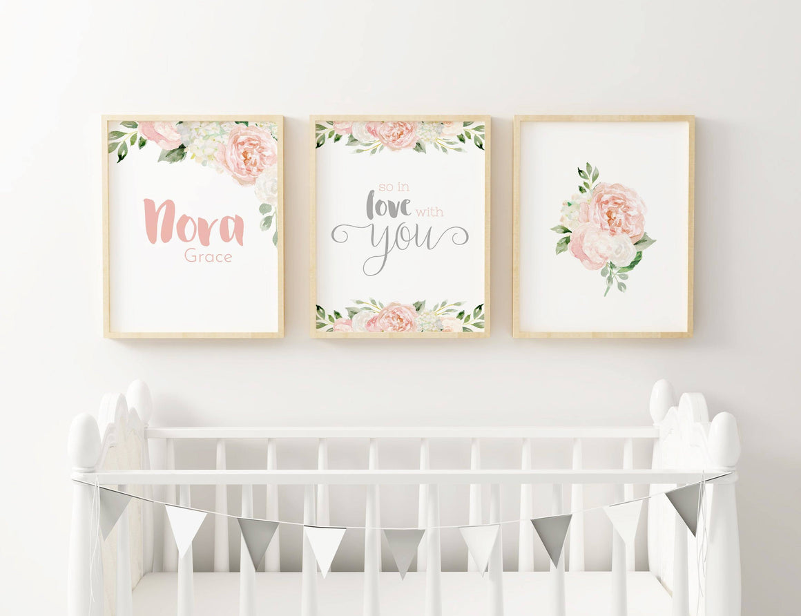 Dark Blush and Grey #2 // Set of 3 Prints | Nursery Prints | The Graceful Goose